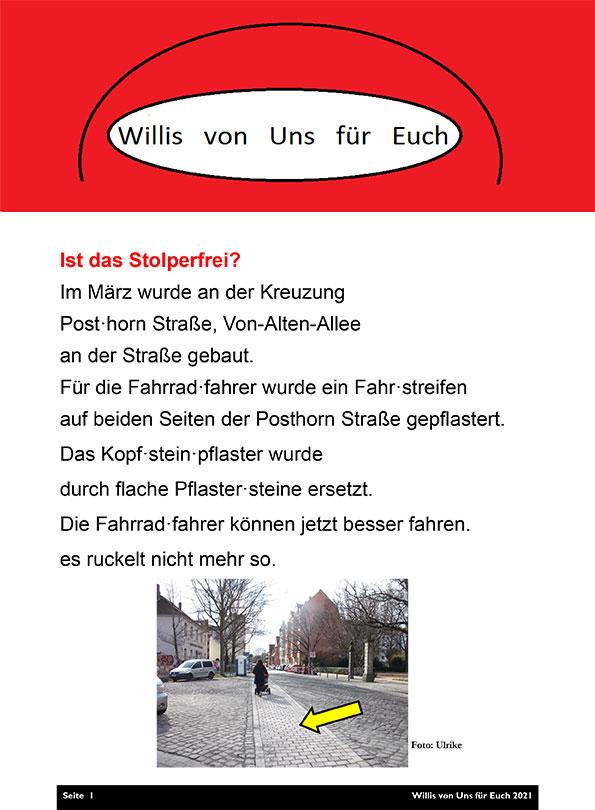 """Bewohnerzeitung """"Willis von Uns für Euch"""""""